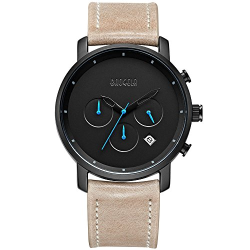 Herren Armbanduhr Leder Braun Sportliche Männer Uhren Blau Analog Quarz Chronograph Kalender 3ATM Wasserdicht - BAOGELA (Uhren Replik Männer)