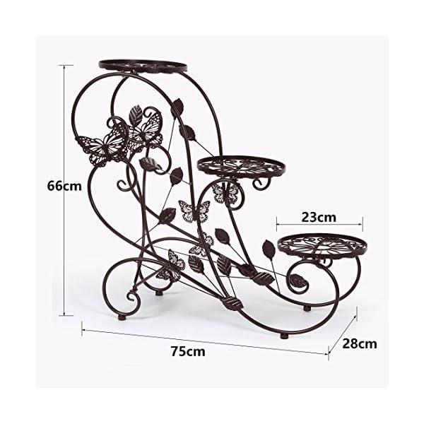 hlc porte pots plante fleurs 3 etagere support jardin en metal noir blanc bronze inspid co. Black Bedroom Furniture Sets. Home Design Ideas
