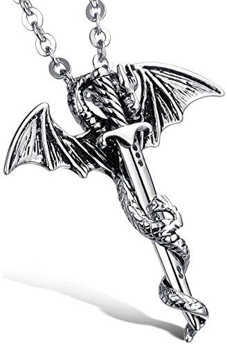 """OSTAN – """"Warrior King"""" 316L Edelstahl Retro Gotik Drachen mit Schwert Ketten mit Anhänger für Herren – Neue Mode Schmuck Halskette, Silber und Schwarz"""