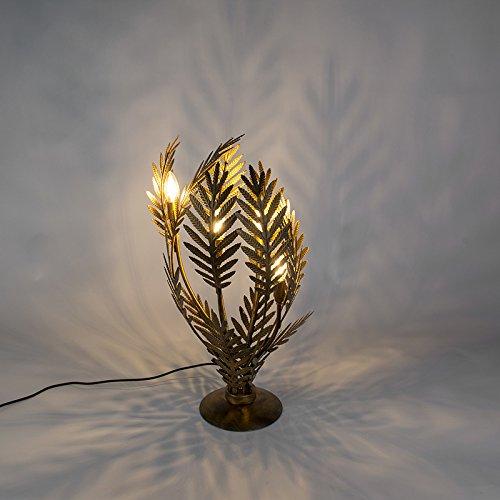 QAZQA Retro Vintage Tischleuchte/Tischlampe/Lampe/Leuchte groß Gold/Messing- Botanica/Innenbeleuchtung/Wohnzimmerlampe/Schlafzimmer Metall Andere LED geeignet E14 Max. 4 x 40 Watt (Messing-tisch-lampen Schlafzimmer Für)