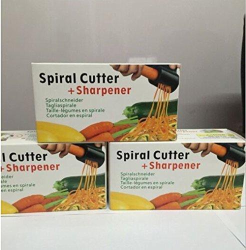 Spiralschneider für Gemüsespaghetti, Gurkenschneider mit Messerschärfer, Gurkenhobel für Gemüse, Gemüsehobel – Doppellochentwurf (blau) - 7