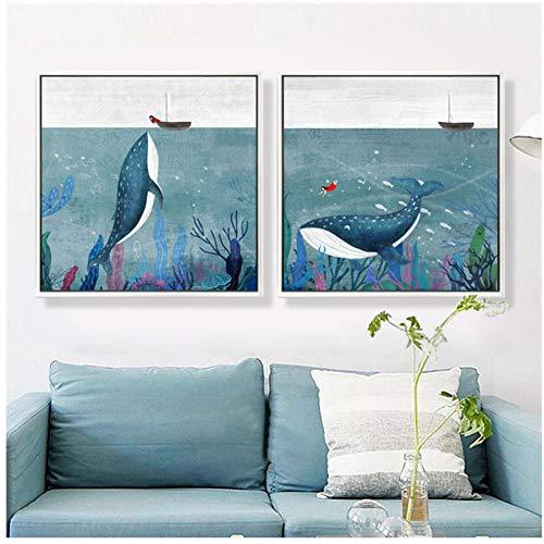 Cartoon Aquarell Walfisch Mädchen Boot Poster und Drucke Kunst Leinwand Malerei Home Decoration Wandbilder -60x80cm No Frame - Boot Leinwand Kunst