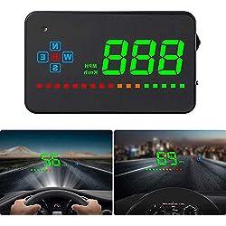 Affichage Tete Haute Voiture GPS, Compteur Vitesse Voiture, KM/H MPH, iKiKin HUD Voiture pour Toutes Les Voitures et Tous Les camions, Projecteur à LED Film de réflexion, Alarme Vitesse