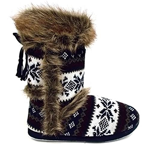 Womens Knitted DUNLOP Fluffy Soft Fur Cosy Warm Nordic Yeti Boot Slipper  Boots (LADIES UK SML 5/6, NAVY FAIRISLE)