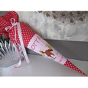 #52 Pferd rosa-rot Schultüte Stoff + Papprohling + als Kissen verwendbar