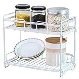 HOMURY BSR202701MW Gewürzregal, freistehend, für Küche und Badezimmer, 2-stöckig, Weiß