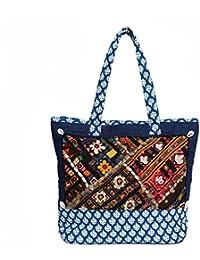 Jodhpuri Bags Hand Block Printed Cotton Bags With Ethnic Work By Jaz