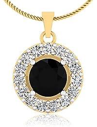 IskiUski Black Onyx Beautiful 14Kt Diamond Yellow Gold Pendant Yellow Gold Plated For Women