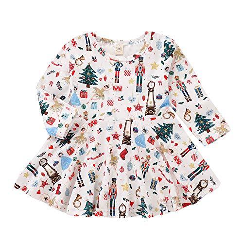 Disfraz Navidad Vestido para Bebe Niñas 6 Meses-4 años Invierno 2018 Moda PAOLIAN Vestido de Princesa Niñas Manga Largas Estampado arbol y Papa Noel Otoño Ropa Traje de Navidad Decoracion