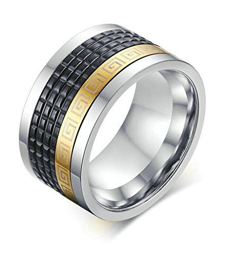 AMDXD Gioielli Acciaio Inossidabile Uomo Fedi Nuziali Oro Nero Fret Disegno Dimensione 22 - 14k Dell'anello Indiano