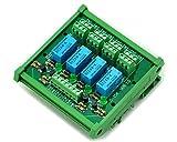 ELECTRONICS-SALON DIN Rail Mount 4 DPDT Signal Relay Interface Module, DC24V Version.