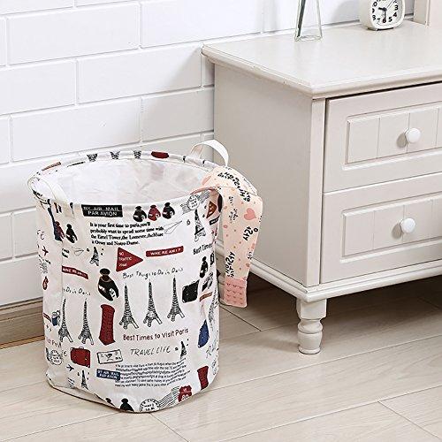 fablcrew W/äschekorb Vintage Tower Waschen Reinigung Tasche Aufbewahrung M/üllbeutel-Home Organizer wei/ß