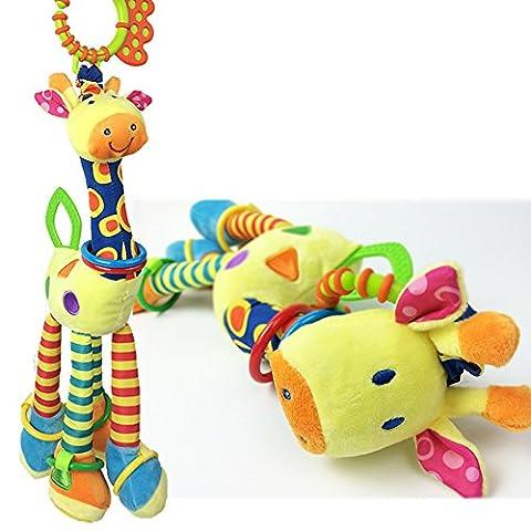 Girafe Hochet clochettes en peluche pour bébé musical développement Jouets pour berceau, poussette, chaise, DE VOITURE