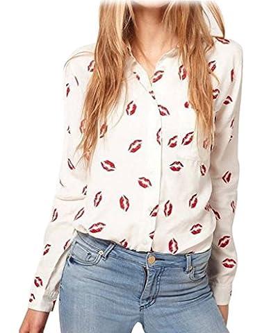 Minetom Mode Femmes en Mousseline de Soie Rouge à Lèvres Imprimées Longue Manches Chemisier Blouse Shirt de Revers FR 38
