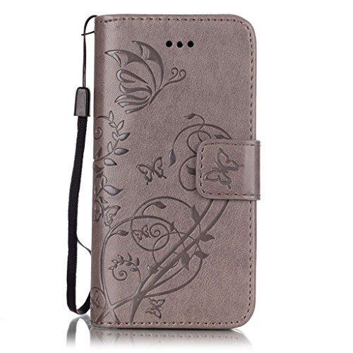 CareyNoce iPhone SE/5S/5 Coque,Arbre Plume Pissenlit Fleur Retro Painted Embossed Pattern Conception Flip Housse Etui Cuir PU Coque pour Apple iPhone SE iPhone 5S iPhone 5 (4.0 pouces) -- Gris Plume T23