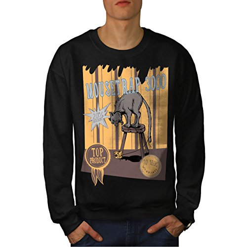 mouse-trap-cat-bait-cheese-lure-men-new-black-m-sweatshirt-wellcoda