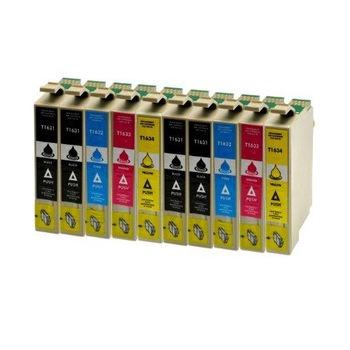 Preisvergleich Produktbild 10 Tintenpatronen für Epson T1631XL 1632XL 1633XL 1634XL BK,C,M,Y - 4xSchwarz je 18ml,2x je C,M,Y 18ml, kompatibel