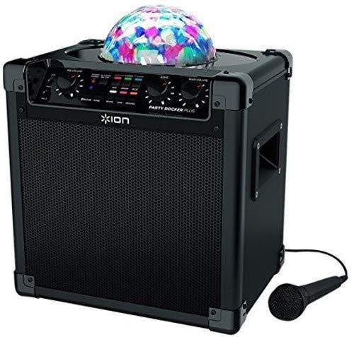 ION Audio Party Rocker Plus - Sistema de Altavoz y Karaoke Bluetooth Portátil para Fiestas con Batería Recargable Integrada, Iluminación de Fiesta con Aplicación de Control y Micrófono