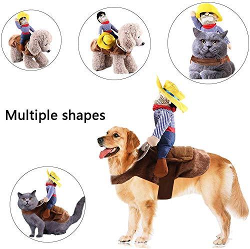 Kungfu Mall 1 Costume pour Chien Costume pour Animaux De Compagnie Costume Cowboy Rider Style Halloween Équitation Transfiguration pour la Fête d'halloween (L)