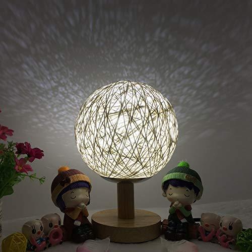 Comodino romantico stella proiettore luce notturna creativa regalo di compleanno INS dimmer palla a sfera in rattan lampada da tavolo 15CM