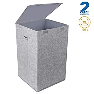 CLEEBOURG Large Laundry Baskets, Collapsible Laundry Hamper Grey Washing Basket with Lid and Handles, Suitabale for Bedrooms Laundry Room, Bathroom, 90 Liters