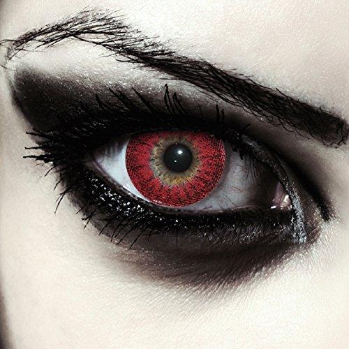 Rote farbige Werwolf Kontaktlinsen ohne Stärke für Halloween Farblinsen in rot Model: Red Werewolf + gratis (Red Wolf Kostüm Kontaktlinsen)