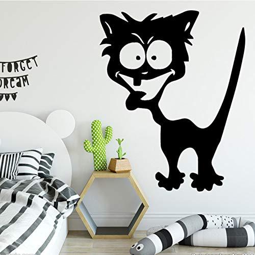 Cartoon Nette Katze Wandaufkleber Moderne Mode Wandaufkleber Dekoration Zubehör für Schlafzimmer Hintergrund Wandkunst Aufkleber rot L 43 cm X 52 cm -