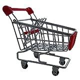 Chariot de supermarché miniature pour bureau rouge déco maison accessoire insolite original