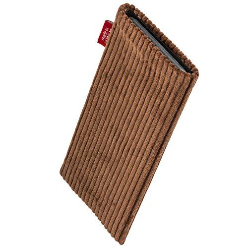 fitBAG Jive Blau Handytasche Tasche aus Textil-Stoff mit Microfaserinnenfutter für Apple iPhone 6 Plus / iPhone 6S Plus 5,5 Zoll mit Apple Silikon Case Retro Braun