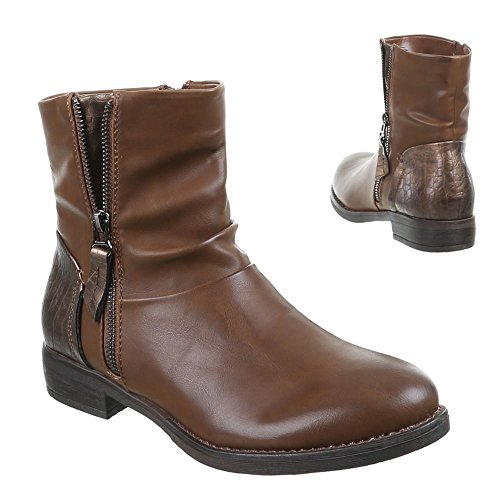 Ital - 470–pa, bottines Marron - Camel