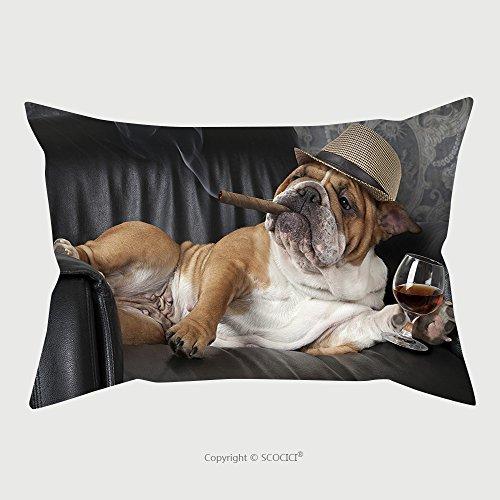 Custom Baumwolle Leinen Kissenbezüge Displayschutzfolie Humorvolle Foto von English Bulldog die sich in ein Glas schwarz Leder Stuhl mit einer Zigarre und 386992378Kissen Fall für Deko, Baumwoll-Leinen, Multy, 14L x 19W Inch (Herren-bay Justin)