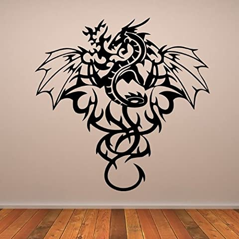 Dragón Estampado Tribal Pegatina de Pared. Arte de Pared Fantasia disponible en 5 tamaños y 25 colores X-Large Cuero