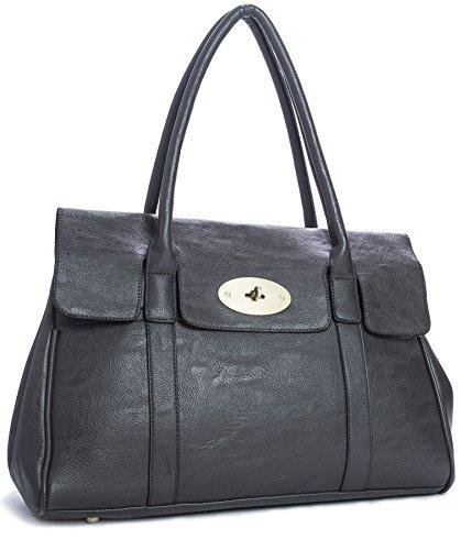 Big Handbag Shop, borsa a tracolla da donna in eco-pelle, di design, da boutique Grigio (Grigio scuro)