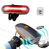 LED Fahrradbeleuchtung Set, Sounor Wiederaufladbare LED Frontlicht und Rücklicht Für Radfahren, Fahrradscheinwerfer, Fahrradlicht, Fahrradlampe Set mit Fahrradklingel 140 dB (2 USB-Kabel &1 Ladegerät)