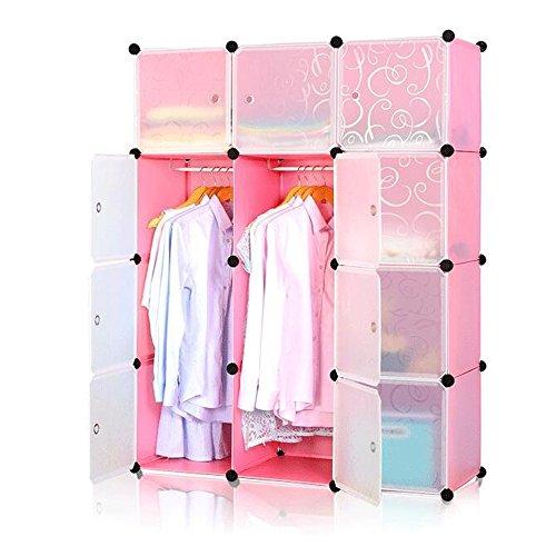 HENGMEI Kleiderschrank Garderobenschrank Steckregalsystem Regalsystem 12 Boxen mit Tür Farbauswahl (Pink)