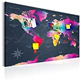 murando - Weltkarte Pinnwand & Vlies Leinwandbild 90x60 cm 1 Teilig Kunstdruck modern Wandbilder XXL Wanddekoration Design Wand Bild - Landkarte Karte Reise Geographie k-A-0126-v-a