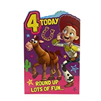 Age 4 Birthday Card - Toy Story Birthday Card, 4th Birthday, Toy Story Birthday Card Featuring Jesse Includes Colour In Activity Inside, Ideal Gift Card for Kids - Disney