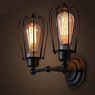 YNXing Loft Antique Iron art Double-Head Pomelo Wall Lamp American Country Style Antique Restaurant Corridor LED Wall Lamp