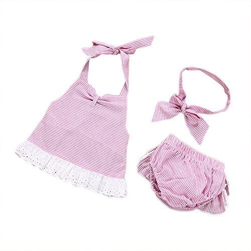 Chicolife Nettes Rosa 3pcs Baby Sets Sleeveless Bogen Rüschen Gestreifte Badebekleidung Neugeborene Kleidung (Rosa Halfter Gestreifte)