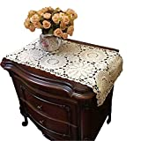 Ustide - Lot de 2 chemins de table rectangulaire crochetée 100 % coton, écru, 28 x 58 cm, Coton, beige, 15.75'X27.56'(40cmX70cm).2pc