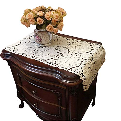 Tischläufer mit Häkelspitze von Ustide, 100 % Baumwolle, rechteckig, naturfarben, Kommodenläufer, Tischdeckchen, 2 Stück, 27,9x 58,4cm, baumwolle, beige, 15.75
