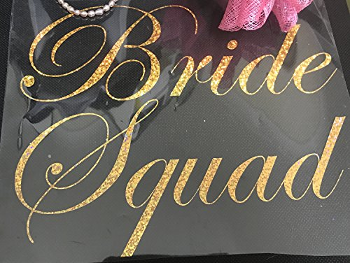 MURRIELLE Bride Tribe Iron On T Shirts Transfer Bride Team Crew Squad To Be Hen Do VINYL HOLOGRAPHIC Gold
