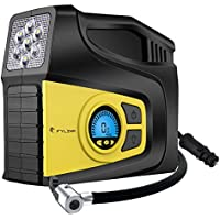 Digital Tyre Inflator, Fylina Preset Air Compressor Tyre Pump, 12V 120W 120PSI Tyre Pump with Larger Air Flow 35L/Min, 2 Nozzle Adaptors , 3 Mode LED Light, Extra Fuse and Progress Display for Cars/Bikes/Airbeds/Motorcycles/Basketballs