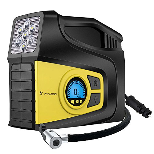 Digitaler Auto Kompressor, Fylina 120 PSI Luftkompressor, 12V Luftkompressor-Pumpe mit 3M Kabel und Hoher Pumpleistung 35L/ min, Kompressor Auto Tragbare mit 3 Modi LED Notlicht für Auto Motorrad Fahrrad Basketball