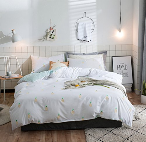 Wangjianfeng Duvet Cover Bedding Sheet Set 100% Pure Cotton Contemporary Cartoon Cat 4Pcs With One Duvet Cover One Fitted Sheet Two Pillowcases, Full Queen S,B,Full