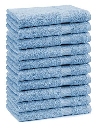 BETZ Lot de 10 Serviettes débarbouillettes lavettes Taille 30x30 cm en 100% Coton Premium Color Bleu Clair