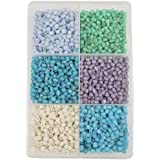 Eshoppee Multicolor 300 Gm 5mm Cube Shape Glass Beads Seed Beads Bead For Jewellery Making Art And Craft Do It Yourself DIY Kit. (Cube Shape)
