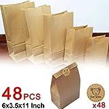 48 PCS Kraftpapier Geschenk Taschen Brown-Papiertaschen mit 48 Bärn-Aufklebern Verwendet in Party / Hochzeit / Märkte / Geschäfte / Cafes / Take away Outlets / Catering Outlets (15 * 9 * 28cm)