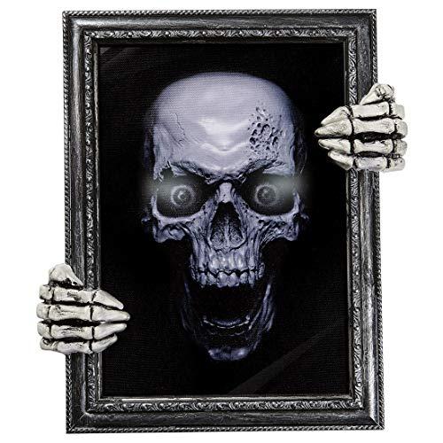 NET TOYS Sprechendes Bild mit Totenkopf | 30 x 35 cm groß & 3 Verschiedene Reime | Schaurige Halloween-Deko Totenschädel Gemälde mit Gruselgeräusch | Perfekt geeignet für Halloween & Gruselparty