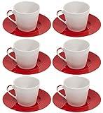 Bialetti Klassische Keramik tazze Cappuccino Tassen und Untertassen Set von 6x 210ml große runde Designer, italienische cappiccino/Tee-Tasse mit Untertasse